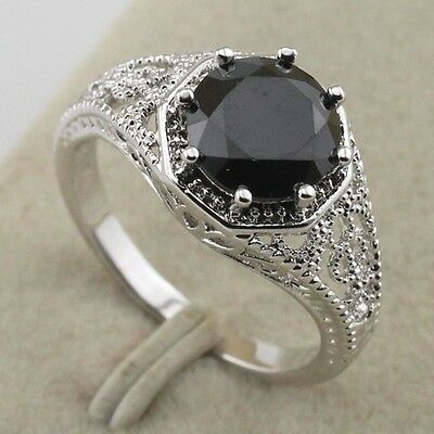 Size 4.5~7.5 Classy Vogue Jewelry Black Sapphire Gold Filled Ring Gift rj1488
