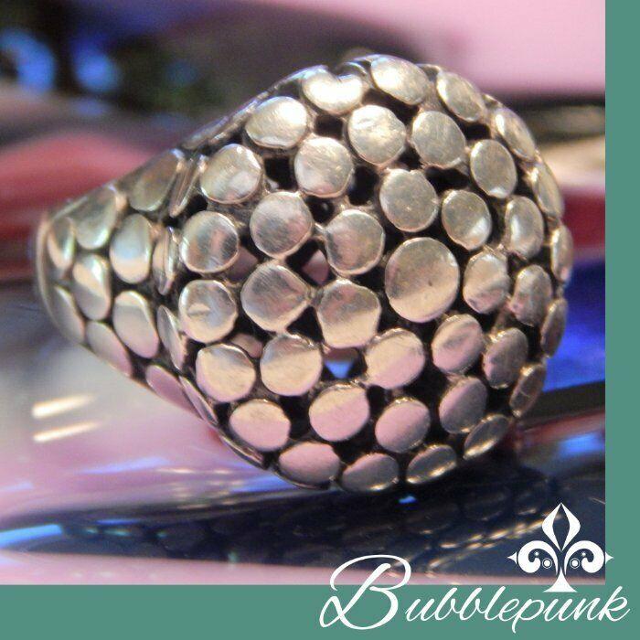925 Sterling Designer Style Chunky Moderne Studded Ring sz 8 11.2g