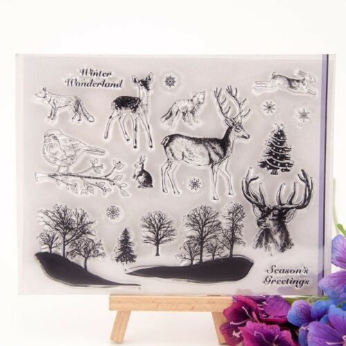 Deer Birds Transparent Clear Silicone Stamp DIY Scrapbooking Photo Album Decor