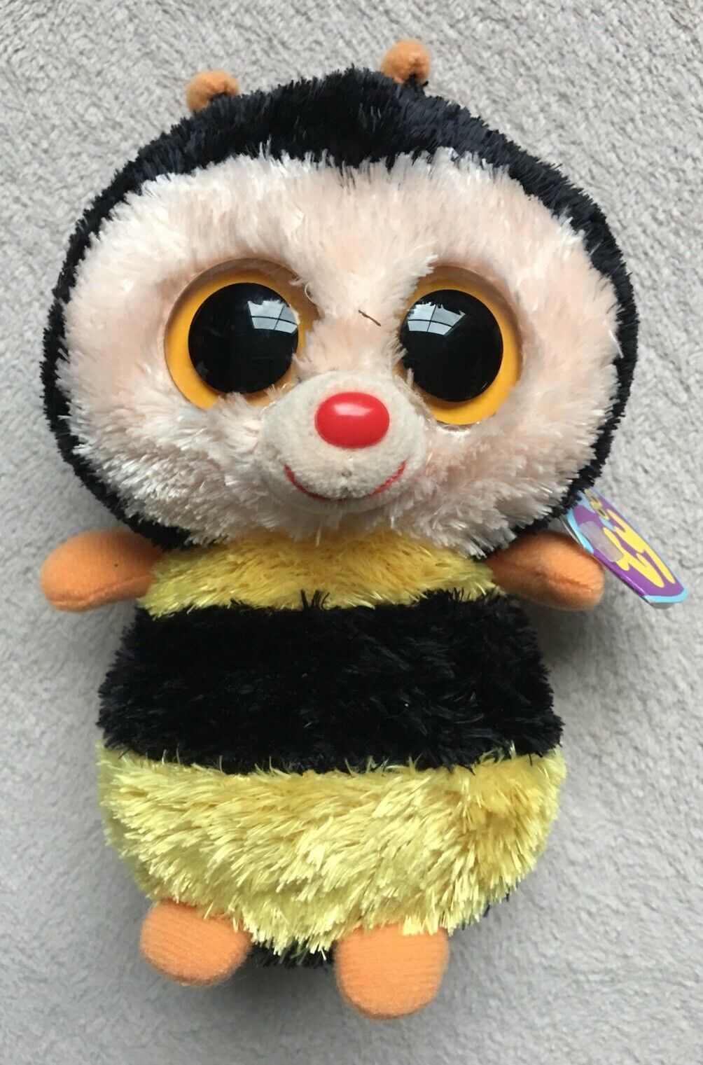 "Ty Beanie Boo Sting Bumblebee, 6"", Clear Eyes, 2012 Purple Tag Retired, Rare NEW"