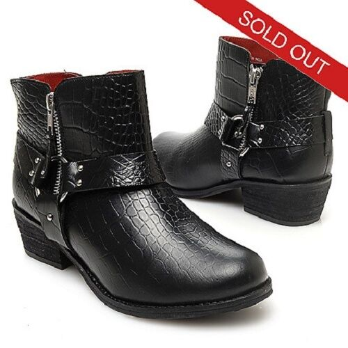 NEU MATISSE EZRAH REPTILE EMBOSSED LEATHER HARNESS DETAILED ANKLE BOOTS 6.5M