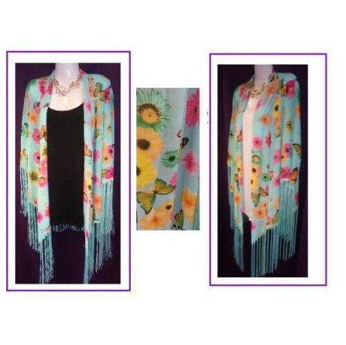 New Blue Summer Butterfly Fringe Kimono PLUS SIZE 16 18 20 22 CURVE