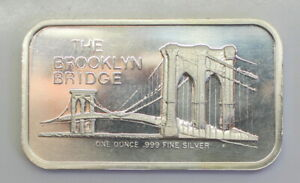 Colonial-Mint-039-s-1973-034-BROOKLYN-BRIDGE-034-1-Troy-Oz-999-Silver-Artbar