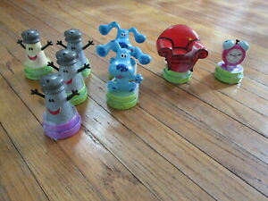 Blues-Clues-Caoutchouc-Timbres-Vtg-Pensee-Chaise-Mr-Sel-Mrs-Poivre-Tickety-Tock