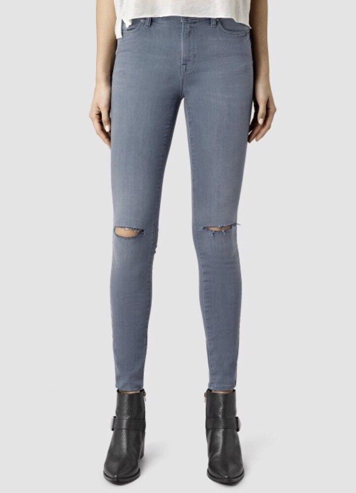 """** Actuelle Saison ** Bnwt Allsaints Grace Tranchée Jeans.w24"""". £ 98. Bleu. Super Skinny-.blue.super Skinny Fr-frafficher Le Titre D'origine"""