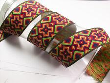 "1.3/4"" (46mm) Multi Colour X Pattern Jacquard Ribbon x 1 yard"