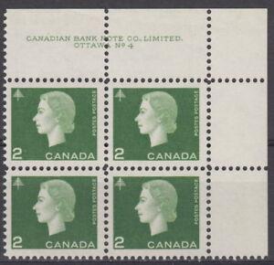 CANADA-402-2-Queen-Elizabeth-II-Cameo-Issue-UR-Plate-4-Block-MNH