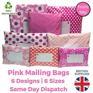 PINK-Postal-Mailing-Bags-Postage-Coloured-Plastic-Packaging-Polka-Dot-Floral