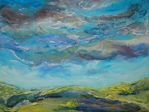 original contemporary landscape painting on canvas with free postage - liverpool, Merseyside, United Kingdom - original contemporary landscape painting on canvas with free postage - liverpool, Merseyside, United Kingdom