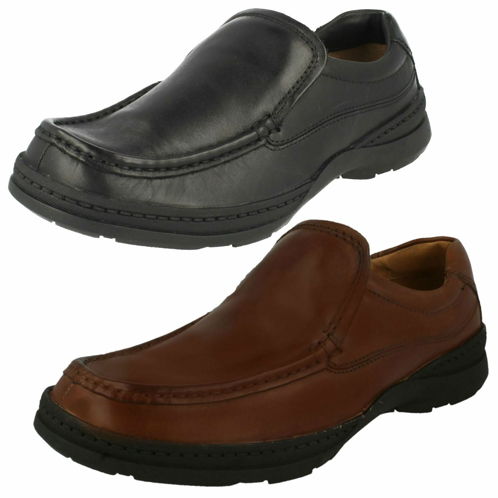 MENS CLARKS  LEATHER SLIP ON SHOES-LINE FREE