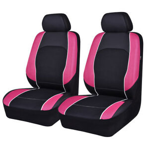 Universal-2-Front-Car-Seat-Covers-Pink-Black-Airbag-Compatible-For-Girls-Women