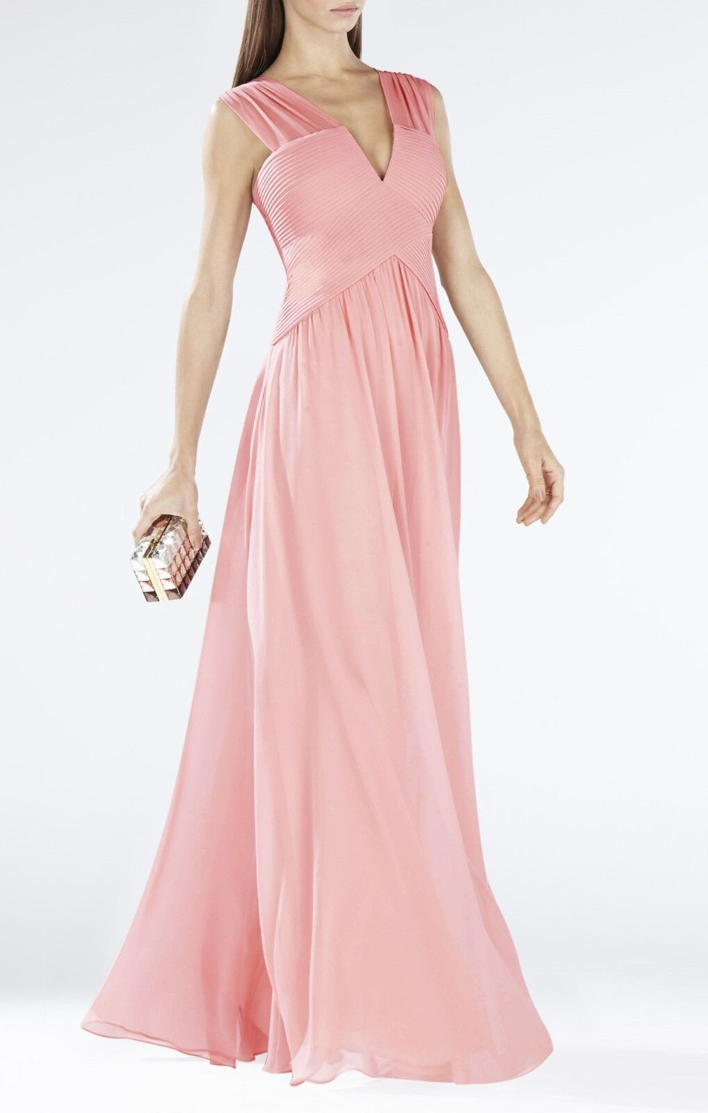 NEW BCBG MAXAZRIA LIGHTSHELL ASTELLA SLEEVELESS SHIRRED GOWN IQI62D03 L260A L260A L260A SZ 4 bde79d