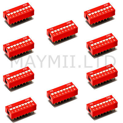 High Quality 2.54mm Pitch Slide Red DIP Switch Type 8-Bit 8 Positions Ways 10pcs