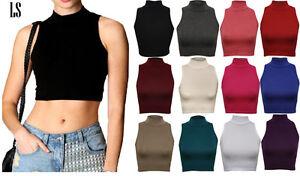 New-Womens-Ladies-Sleeveless-Plain-Polo-High-Neck-Turtle-Crop-Top-Vest-T-Shirt