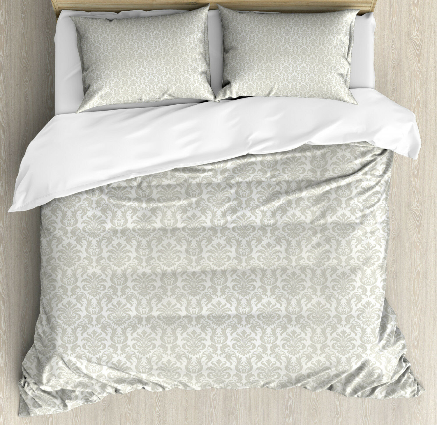 Damask Duvet Cover Set with Pillow Shams Bridal Abstract Classic Print