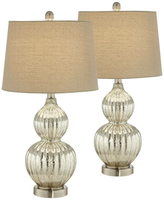 Modern Table Lamps Set of 2 Fluted Mercury Glass Gourd for Living Room  Bedroom