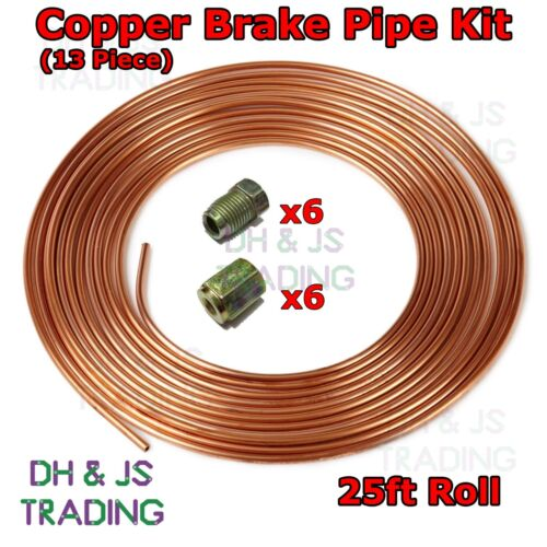 Copper Brake Pipe Hose Kit 25ft 6 Male /& 6 Female Nuts Joiner Joint 3//16 Union