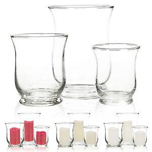 3Pcs-Hurricane-Clear-Glass-Jars-amp-Wax-LED-Candle-Sets-Lamp-Light-Holders-Votive