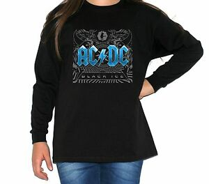 099436036 acdc black ice BLUE t-shirt long sleeve BLACK t-shirt for children ...