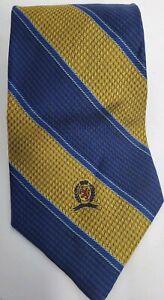 Tommy-Hilfiger-Mens-Dress-Silk-Tie-Gold-Blue-Diagonal-Striped-Crest-EUC