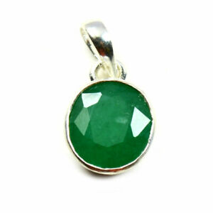 Echter-Smaragd-925-Sterling-Silber-Anhanger-5-Karat-Astrologische-Stein-Schmuck