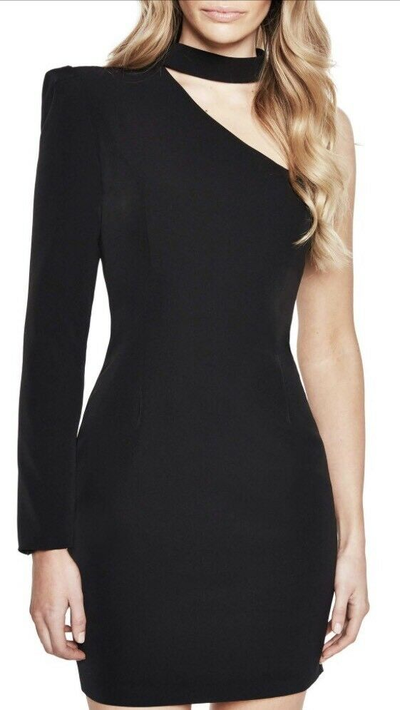 Bardot Willow One-Shoulder Choker Dress schwarz Größe 6 US New