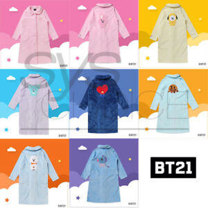BTS-BT21-Official-Authentic-Goods-Winter-Pajamas-Flannel-Night-Dress-by-Hunt