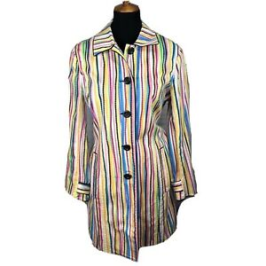 Think-Tank-Womens-Blazer-Jacket-Duster-Cotton-Striped-Print-Colorful-Sz-Small