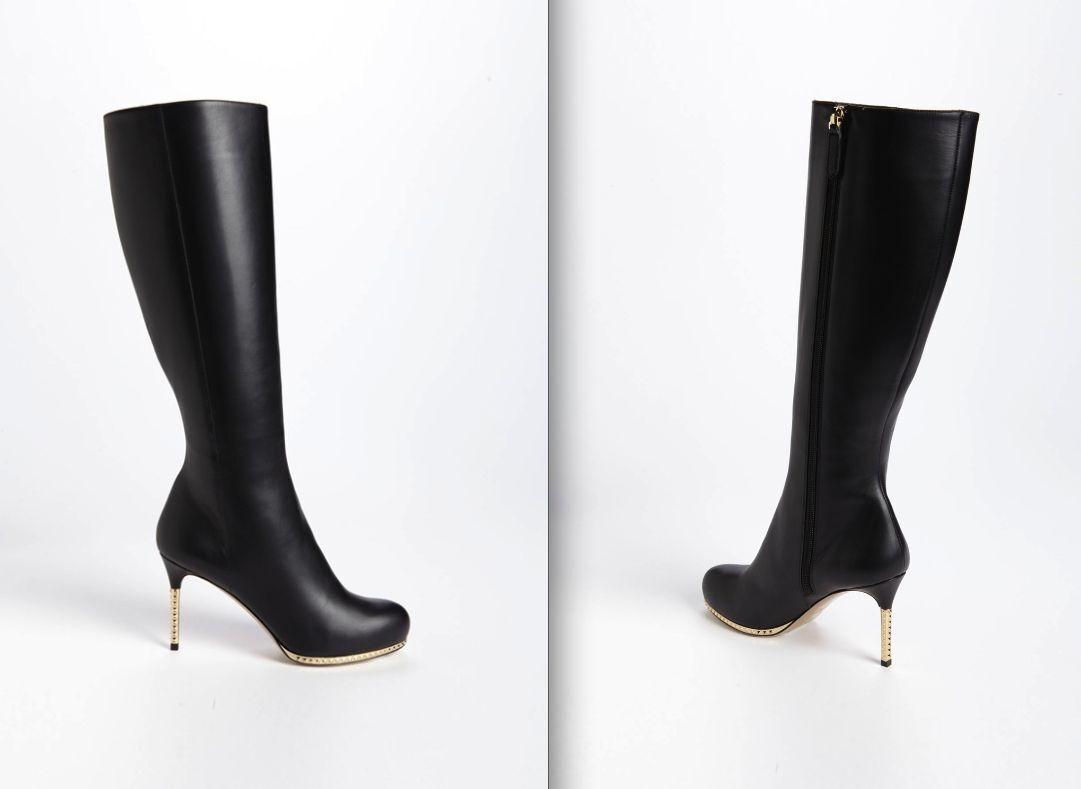 HOT Valentino Pyramid Studs Rockstuds Metal Heel Black Leather Boots $1,800+tax!