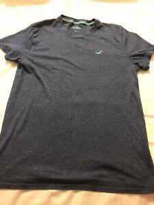 Hollister-logo-bleu-a-manches-courtes-T-shirt-a-encolure-ras-du-Cou-Homme-Taille-S