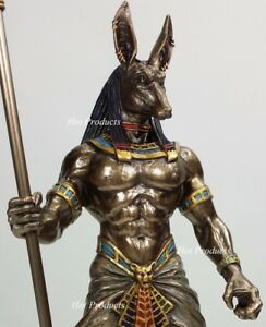 Egyptian-Anubis-Jackal-W-Cobra-Scepter-Statue-Sculpture-Antique-Bronze-Finish