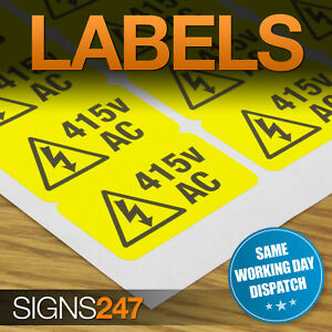 ELECTRICAL-WARNING-STICKERS-self-adhesive-yellow-labels-AC-415V