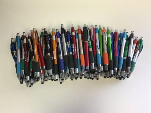 Misprint Plastic Retractable Ball Point Pens with Stylus Bulk Lot of 100 Pens