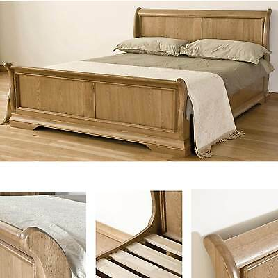Lourdes solid oak french furniture 6' super king size bedroom sleigh bed