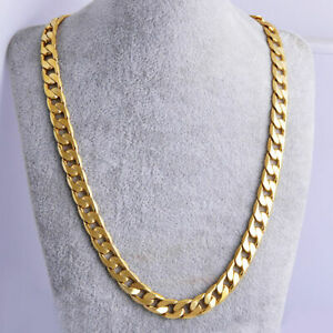 Gold-Cuban-Women-jewelry-24-034-Necklace-Chain-Men-039-s-Filled-Yellow-7mm-Solid-Thick