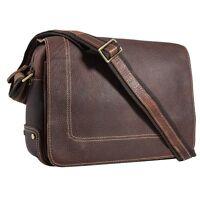 Men Bull Leather Briefcases Shoulder Messenger Bag Cross Body Satchel Brown Gift