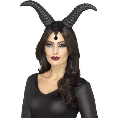 Demon Queen Horns Black Large Headpiece Gothic Halloween Fancy Dress