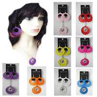 """60s 70s 80s fancy dress earrings 9 colours large dangle earrings 18"""" necklace"""