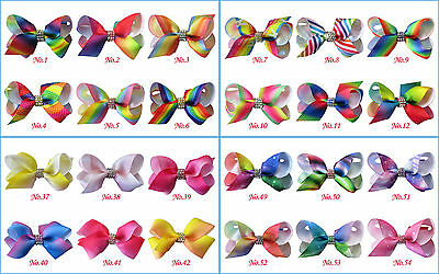 """100 BLESSING Girl 2.5/"""" Colorful ABC Halloween Christmas Hairbow Clip Accessories"""