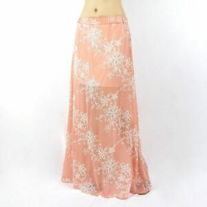 Womens-double-layer-floral-chiffon-elastic-waist-maxi-skirt-coral-size-Medium