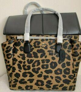 NWT Coach Leopard Animal Print Baby Diaper Bag ...
