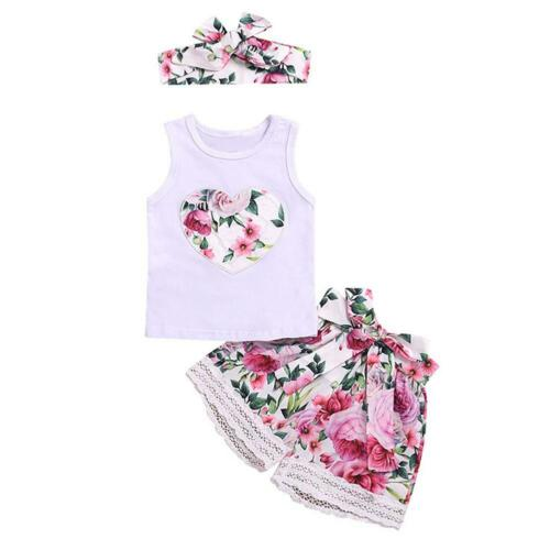 Baby Girl Kids Summer Flower Lace Clothes Sets 3pcs Tops Shorts Headwear TN2F