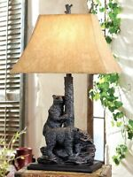 Bear Friends Table Lamp Rustic Cabin Lodge Decor Bears Wildlife 31h