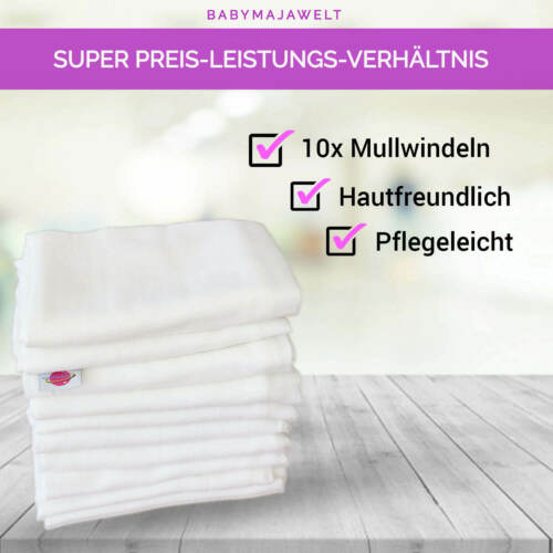 Mullwineln 60 80x80 weiß Spucktücher Stoff Baumwolle Mehrweg Babymajawelt®