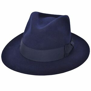 Gents Crushable Grey Indiana 100/% Wool Felt Fedora Trilby Hat With Wide Band