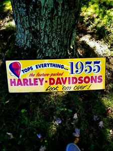 Original Vintage Harley Davidson Motorcycle's Metal Sign Dealer Tops Everything