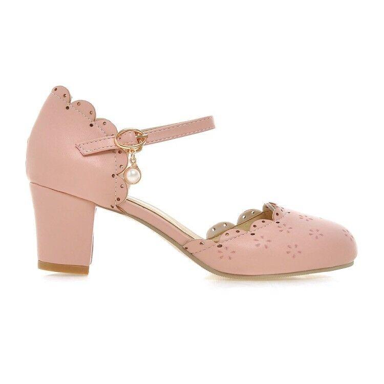 Sweet Womens Lolita Mary Jane Jane Jane Ankle Strap Block Mid Heels Kawaii shoes Plus Size b852e3