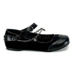 Gothic-Goth-Punk-Rock-Mary-Jane-Flats-Chains-Skull-Buckle-Shoes