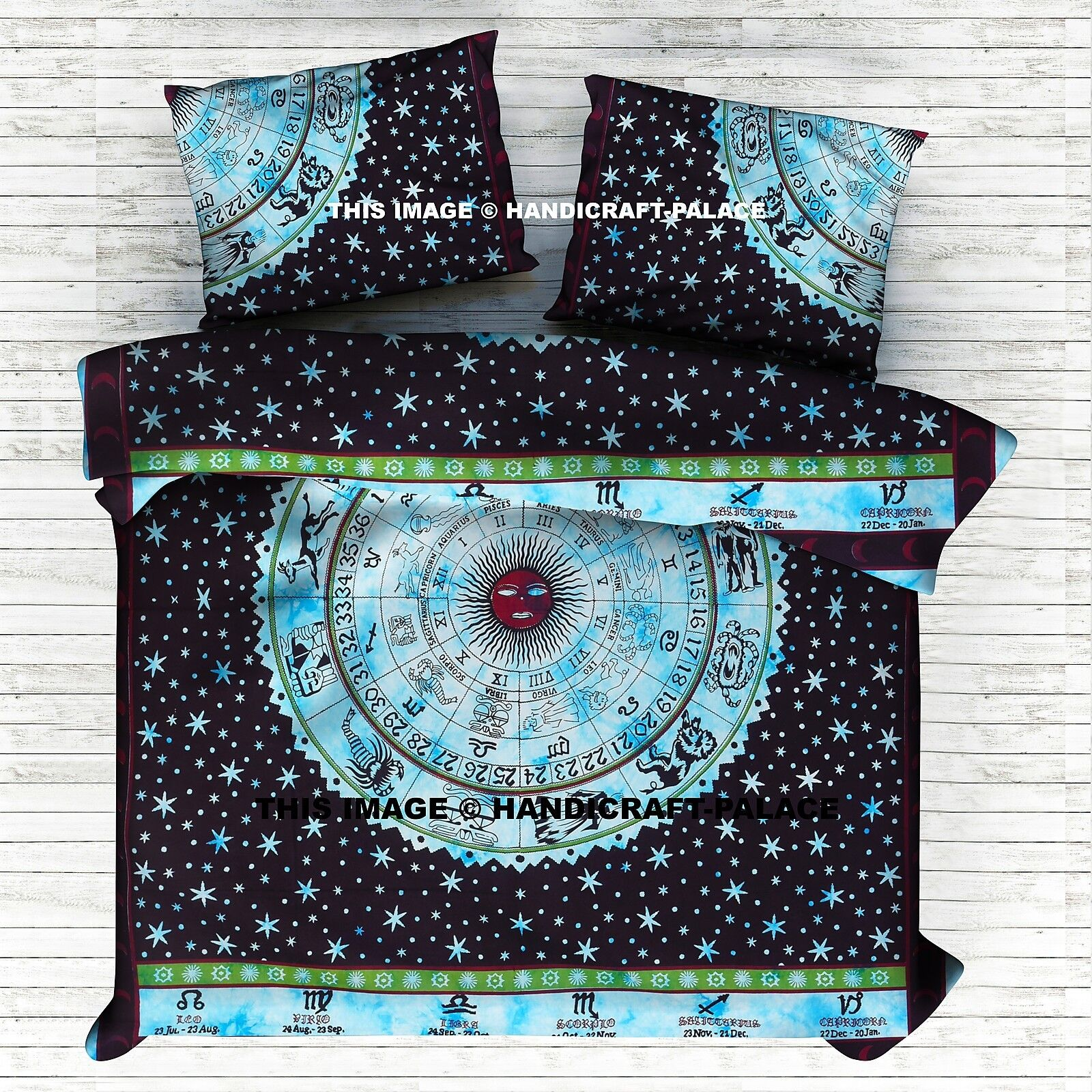 Indian Turquoise Astrology Mandala Print Queen Duvet Cover With 2 Pillow Cover