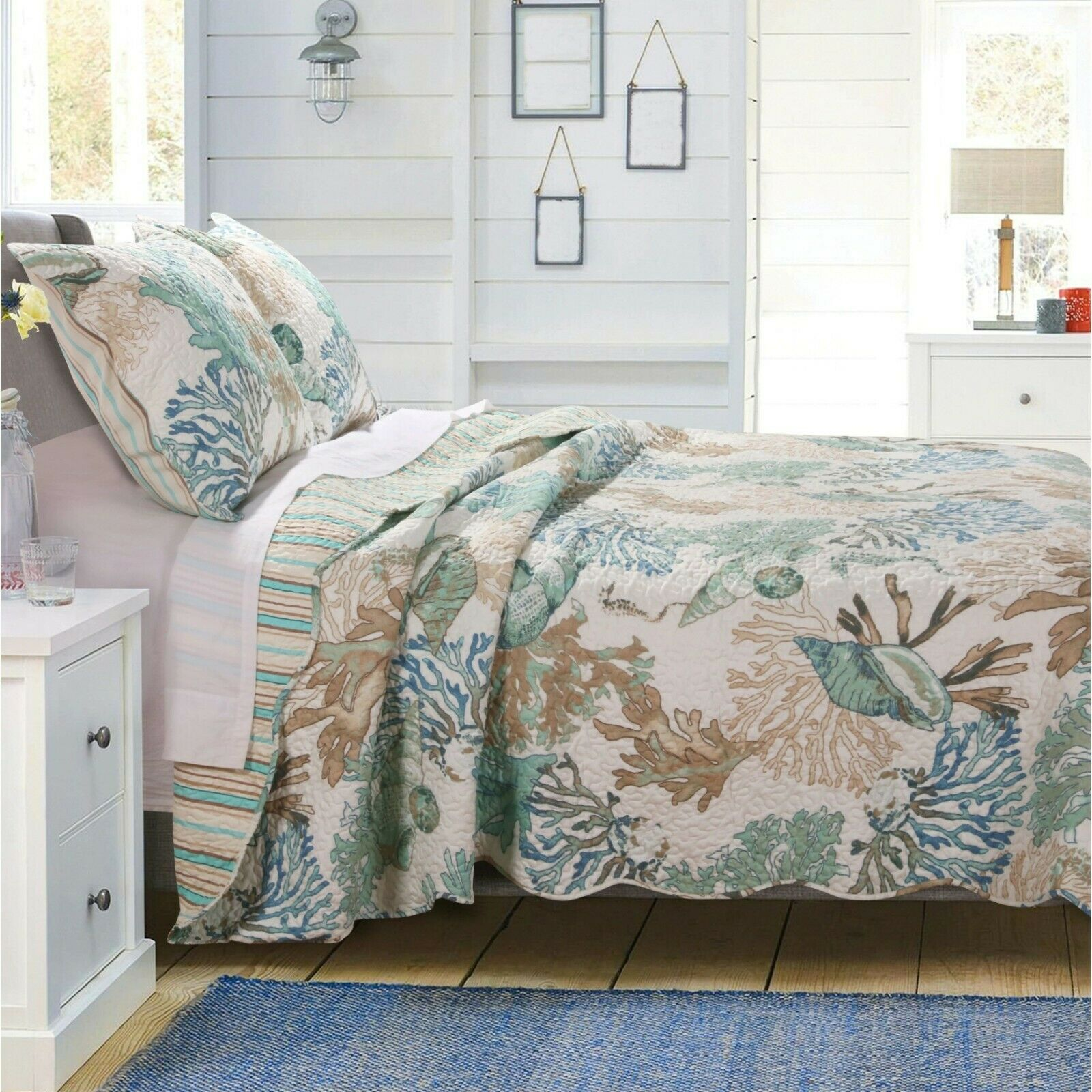 BEAUTIFUL TROPICAL BEACH Blau AQUA TEAL CORAL COASTAL SEA SHELL SAND QUILT SET